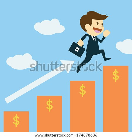 businessman  jumping up  to a higher cube success concept - stock vector