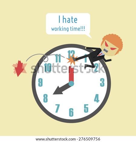 businessman kick a hand of clock, metaphor - stock vector