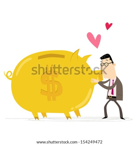 Businessman kissing a giant golden piggy bank - stock vector
