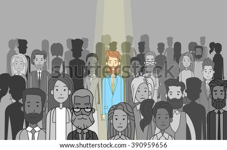 Businessman Leader Stand Out From Crowd Individual, Spotlight Hire Human Resource Recruitment Candidate People Group Business Team Concept Vector Illustration  - stock vector
