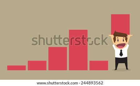 businessman lift increase bar chart.vector - stock vector