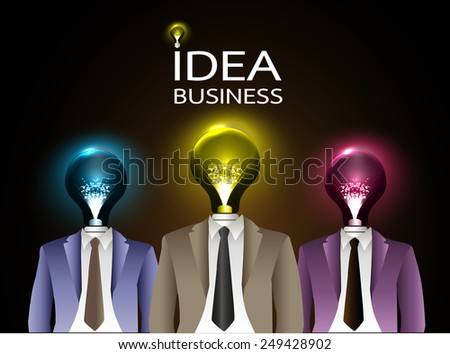 businessman light bulb head with business strategy background as concept - stock vector