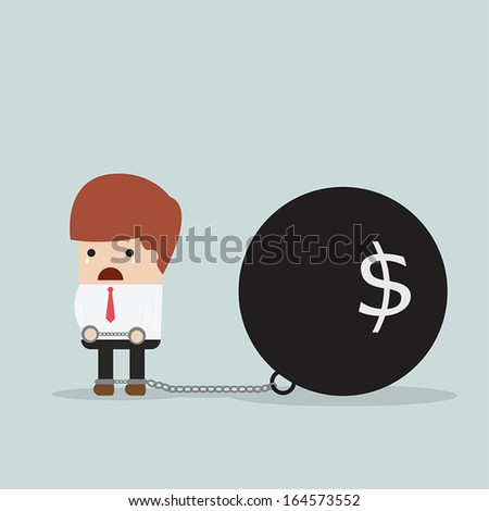 Businessman locked in a debt ball and chain, Debt concept, VECTOR, EPS10 - stock vector