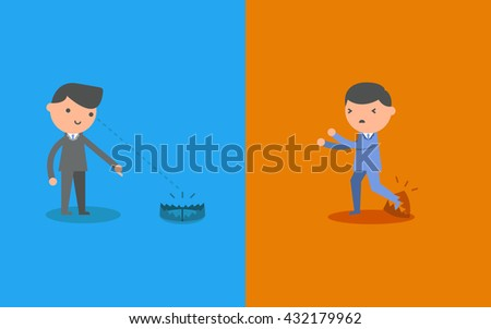 Businessman look a trap and businessman be caught in a trap. Business concept cartoon illustration. - stock vector
