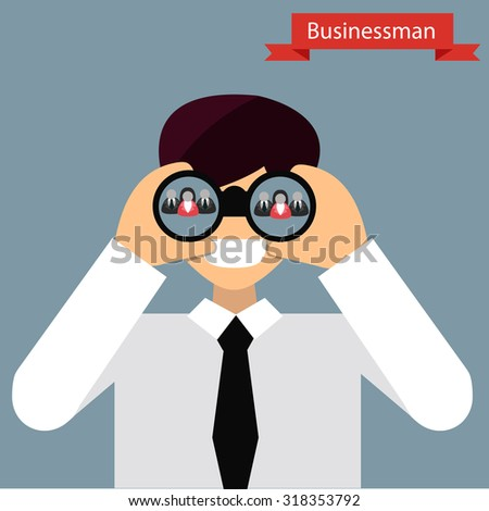 Businessman looking at binoculars for search  employee  in flat cartoon . About HR , employee , customer . Vector illustration. - stock vector