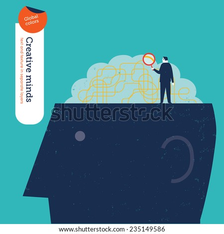 Businessman looking at the brain with a magnifying glass. Vector illustration Eps10 file. Global colors. Text and Texture in separate layers. - stock vector