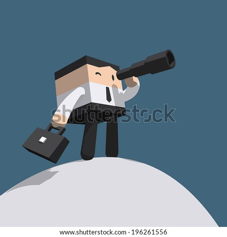 Businessman looking in telescope standing atop of mountain, White shirt with black necktie, Minimal stylized cartoon vector EPS10 - stock vector