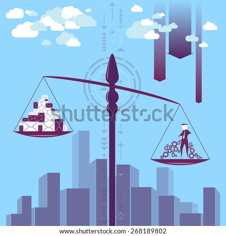 Businessman / man is standing on a weight scale and he is heavier than the data. He is thinking at has a good organisation progress to do all the work with no problem./Good organisation  - stock vector