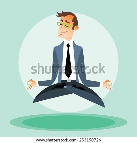 Businessman man practices yoga and hovers in the air - stock vector