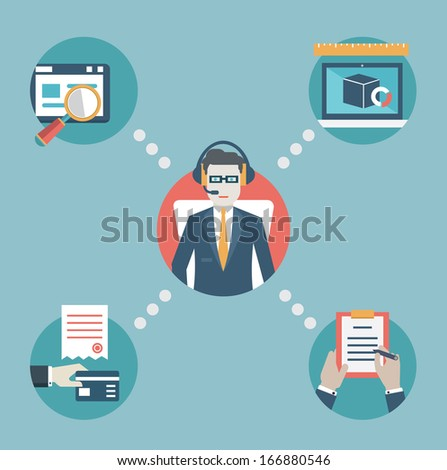 Businessman manage business resources. Analytics, business strategy and e-commerce. Flat style design - vector illustration - stock vector