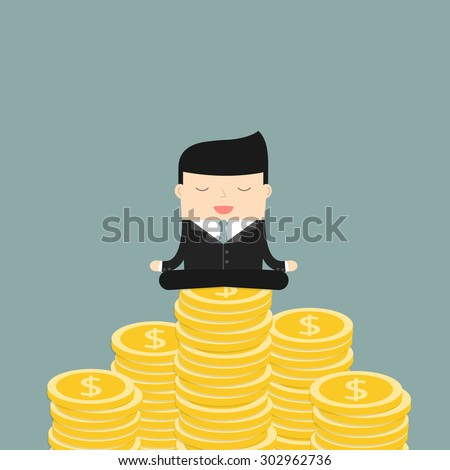 Businessman meditates sitting on the money. Satisfaction with the results. Symbol of wealth and big profits. Vector illustration. - stock vector