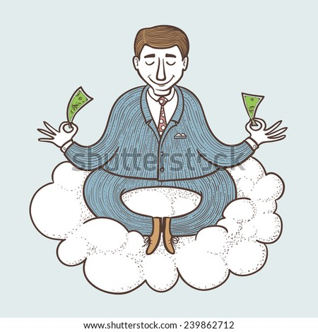 Businessman meditating about money, color version - stock vector