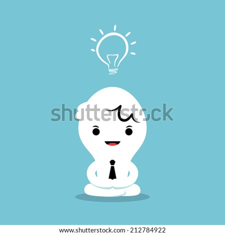 businessman meditating come up with new idea - stock vector