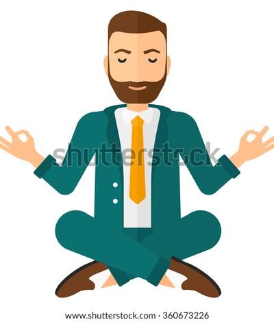 Businessman meditating in lotus pose. - stock vector