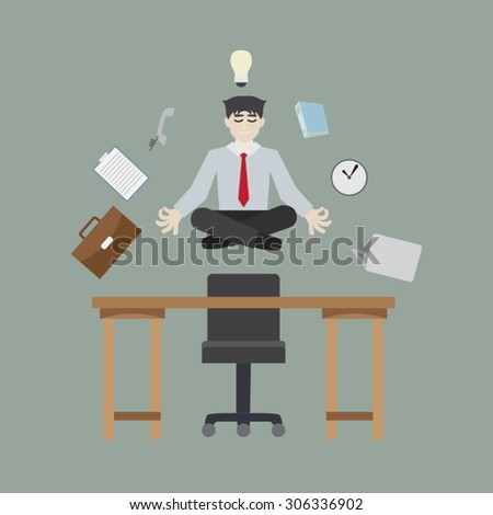 businessman meditating in peace - stock vector