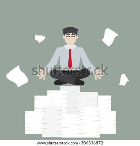 Businessman meditating on a pile of documents Division - stock vector