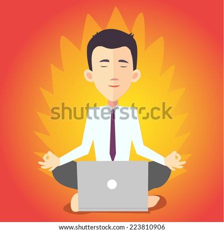 businessman meditating with notebook - flat design vector  - stock vector