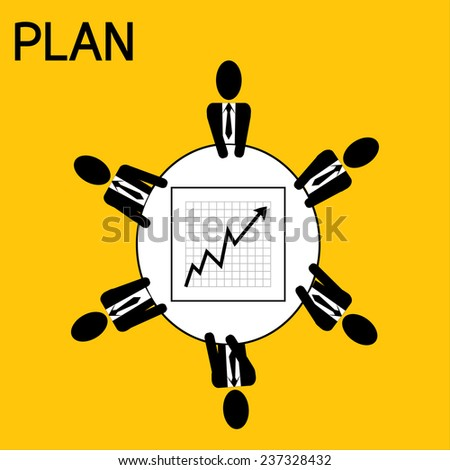 businessman meeting : man plan for business on yellow background vector : business concept - stock vector