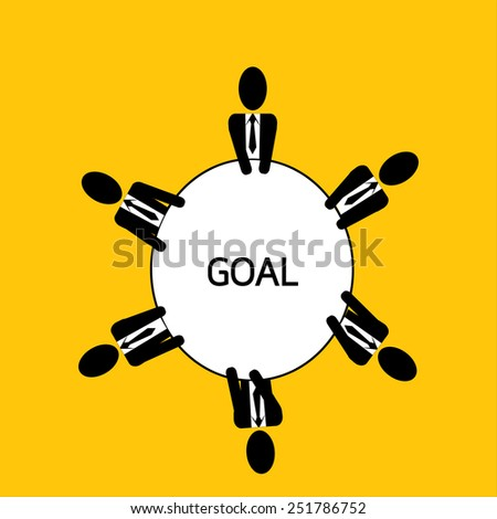 businessman meeting : man plan goal for business on yellow background vector : business concept - stock vector