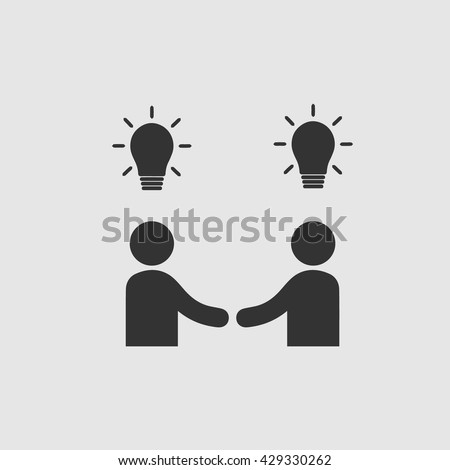 Businessman meeting vector icon. Handshake symbol. Handshake with bulbs. Business deal logo sign. Black and white simple isolated icon.  - stock vector