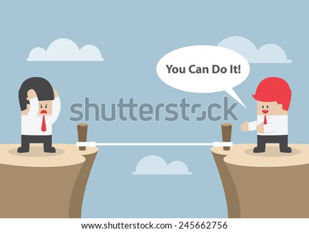 """Businessman motivate his friend to cross the cliff by saying """"You Can Do It"""", VECTOR, EPS10 - stock vector"""