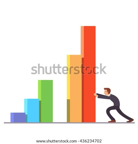 Businessman moving colorful bar graph columns achieving business sales growth. Flat style vector illustration clipart. - stock vector
