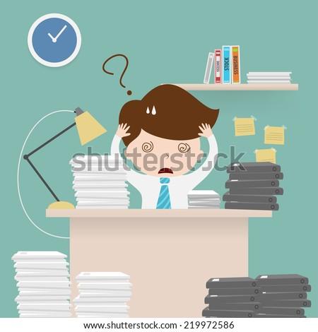Businessman multitasking at work,Vector EPS 10. - stock vector