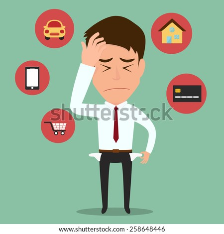 Businessman no money,vector illustration. - stock vector