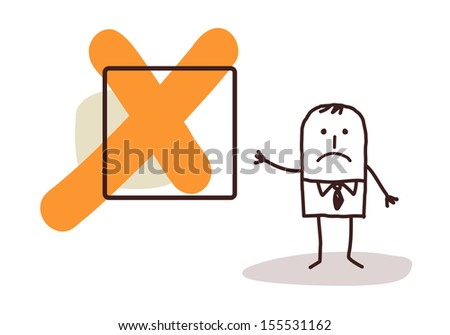 businessman & NO sign - stock vector