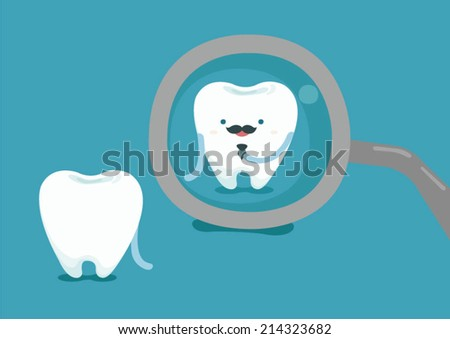 Businessman of tooth with dental tool - stock vector