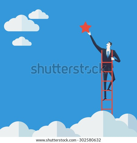 Businessman on a ladder grab the star above cloud. Vector Illustration Business concept a ladder Corporate of success. - stock vector