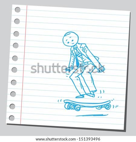 Businessman on a skateboard - stock vector
