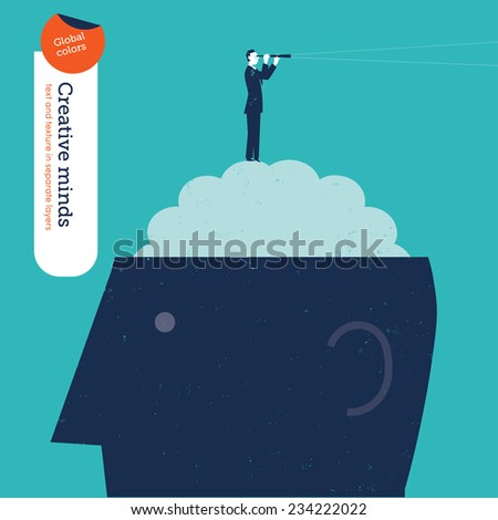 Businessman on brain with spyglass. Vector illustration Eps10 file. Global colors. Text and Texture in separate layers. - stock vector