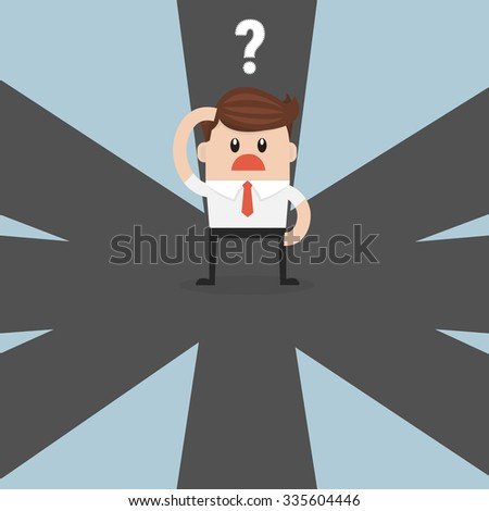 businessman on crossroad choosing future direction to success  - stock vector