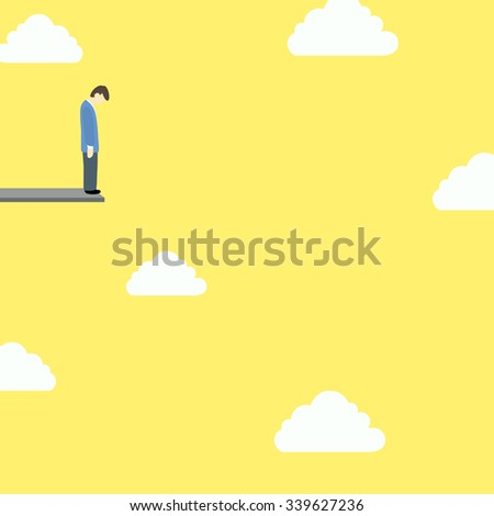 businessman on edge of cliff  - stock vector
