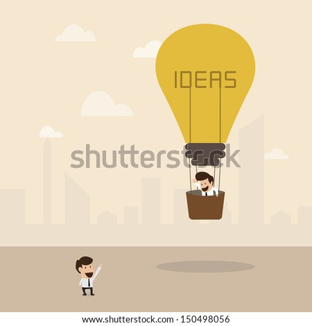 Businessman on lightbulb idea - stock vector