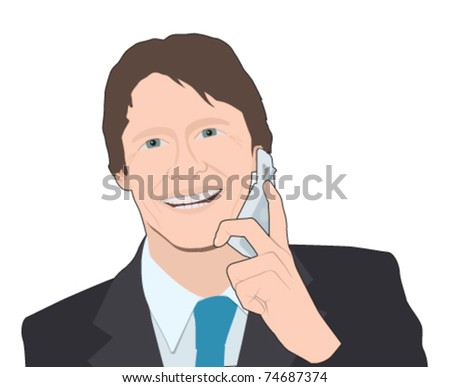 businessman on mobile phone, head and shoulders - stock vector