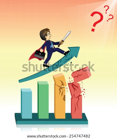 Businessman on the graph and go running fights problem - stock vector