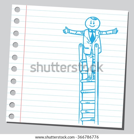 Businessman on top of ladder