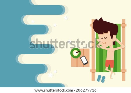 businessman on vacation - stock vector