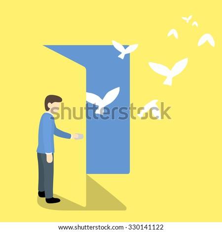 businessman open door and free birds - stock vector