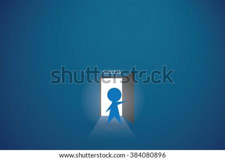 businessman open the door to find success - stock vector
