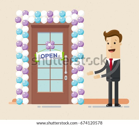 open front door illustration. Wonderful Door Businessman Opens A New Office Or Shop The Front Door Is Decorated With  Balloons And For Open Front Door Illustration