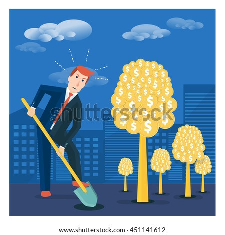Businessman or broker digging ground to plant money tree. Financial investment or shareholder vector concept illustration in flat style - stock vector