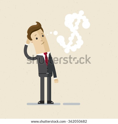 Businessman or manager. A man in a suit thinking about money. Illustration, vector, EPS10. - stock vector