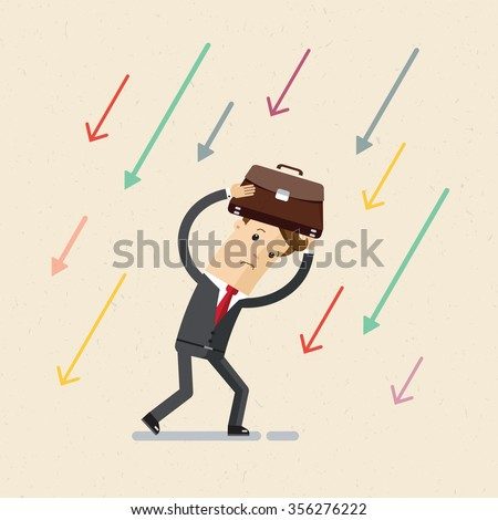 Businessman or manager. A man in suit hiding his head for the portfolio from falling arrows. Illustration, vector EPS 10.