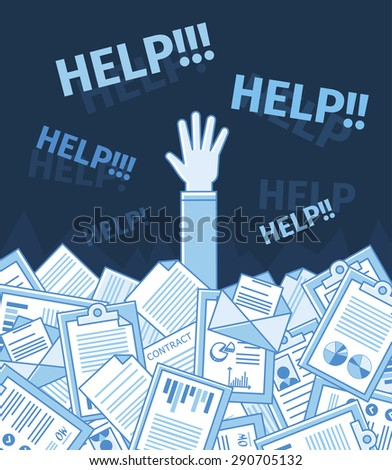 Businessman or student under a lot of document and call for help with his hand raised. Linear flat vector illustration. Blue color - stock vector