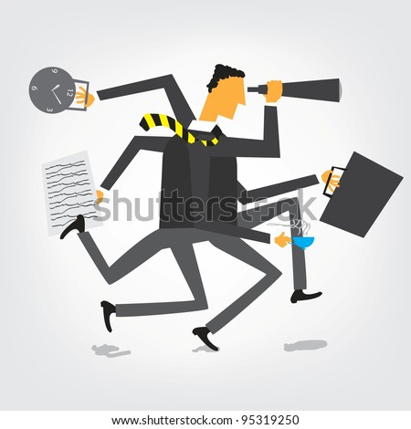 Businessman orchestra - stock vector
