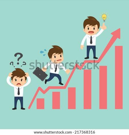 Businessman over growing chart  vector illustration - stock vector