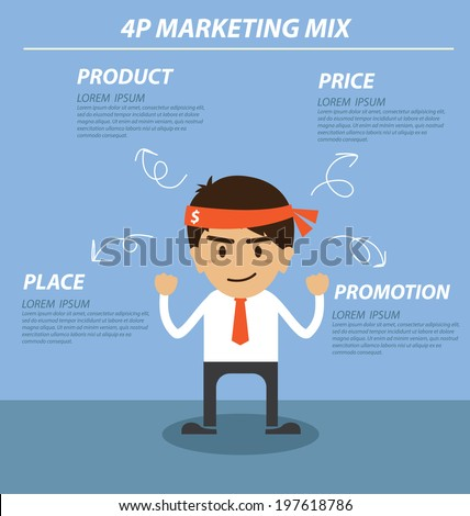 businessman 4P marketing mix - stock vector